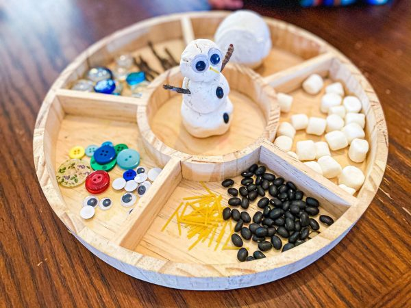 Snowman Playdough Tray | Winter Invitation to Play for Preschoolers