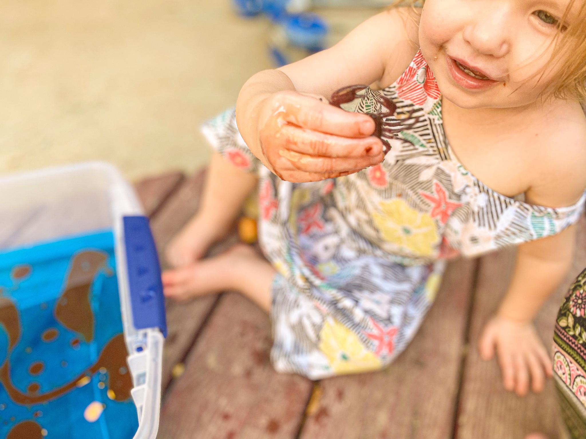 Oil Spill Lesson for Kids Sensory Bin