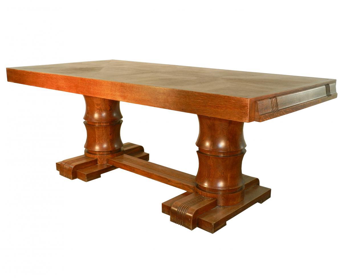 Charles Dudouyt Art Deco Rustic Modern Oak Dining Table