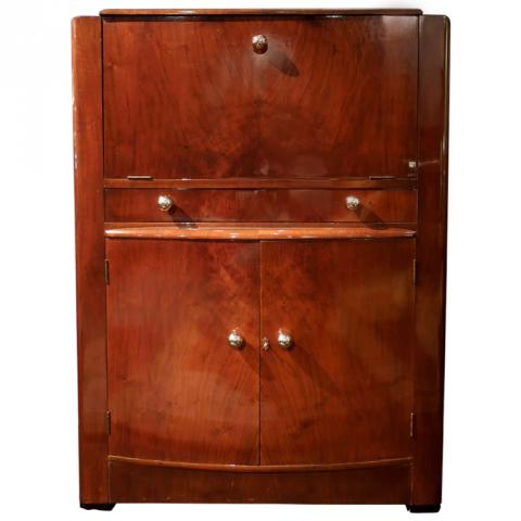 English Art Deco Lighted Drop Front Bar Cabinet Modernism