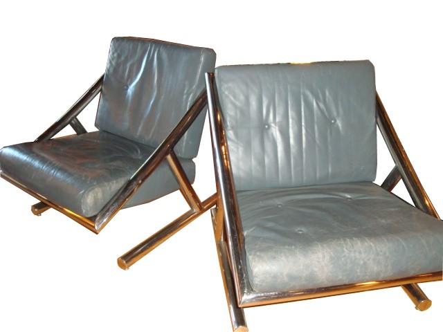 Pair Of 1970 S Mid Century Modern Tubular Chrome Chairs