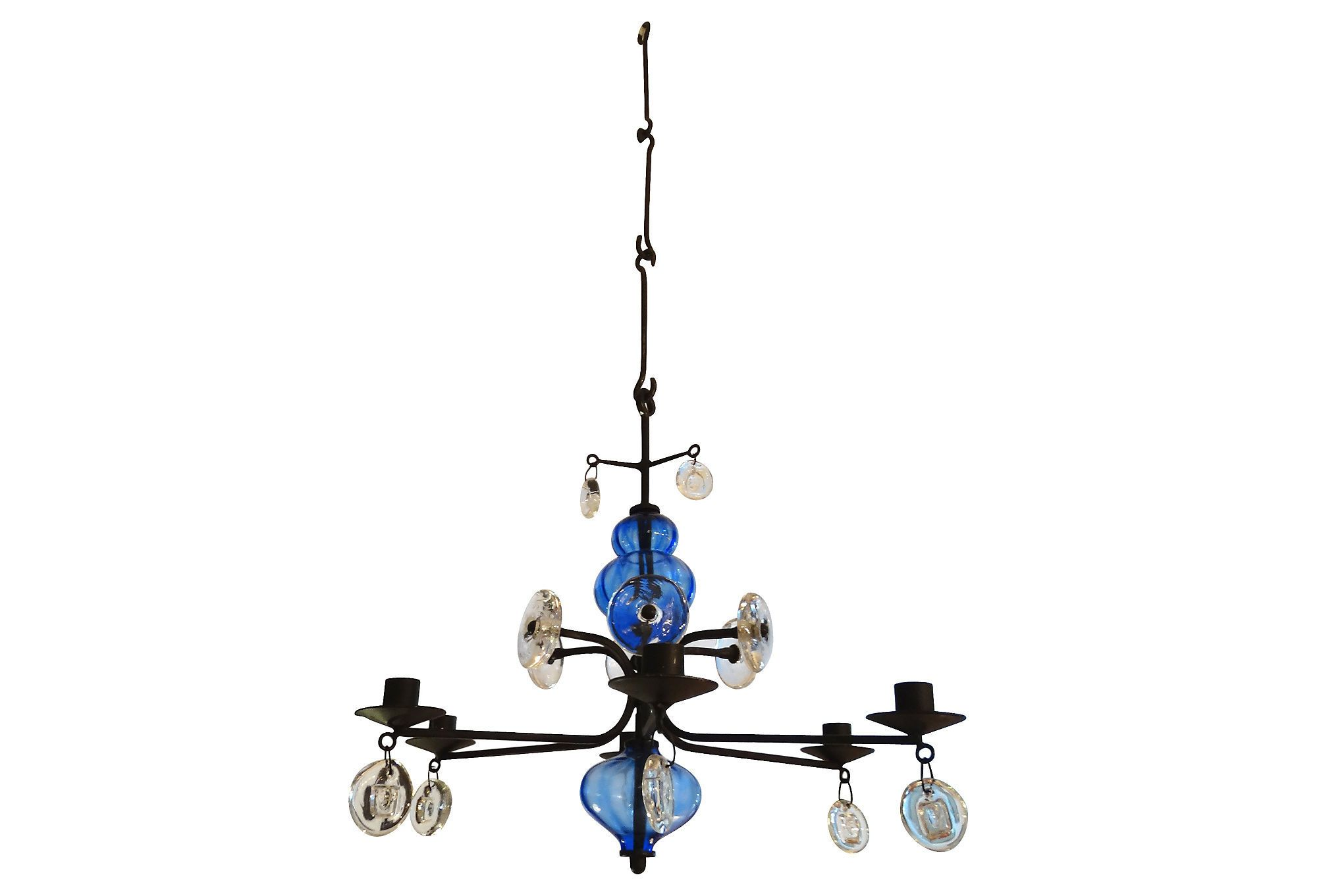 Forged Iron Amp Glass Chandelier By Erik Hoglund For Boda