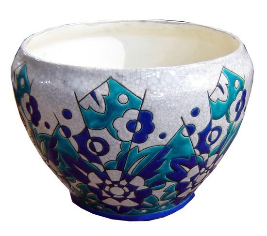 Keramis Belgian Art Deco Geometric Enameled Ceramic Bowl
