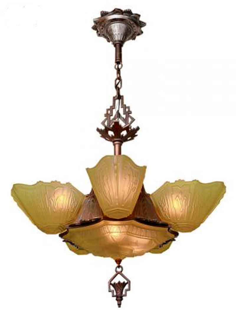 Art Deco 6 Shade Antique Chandelier By Markel Modernism