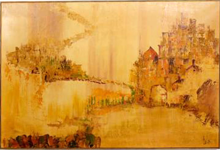 Large Mid Century Carlo Of Hollywood Painting Modernism
