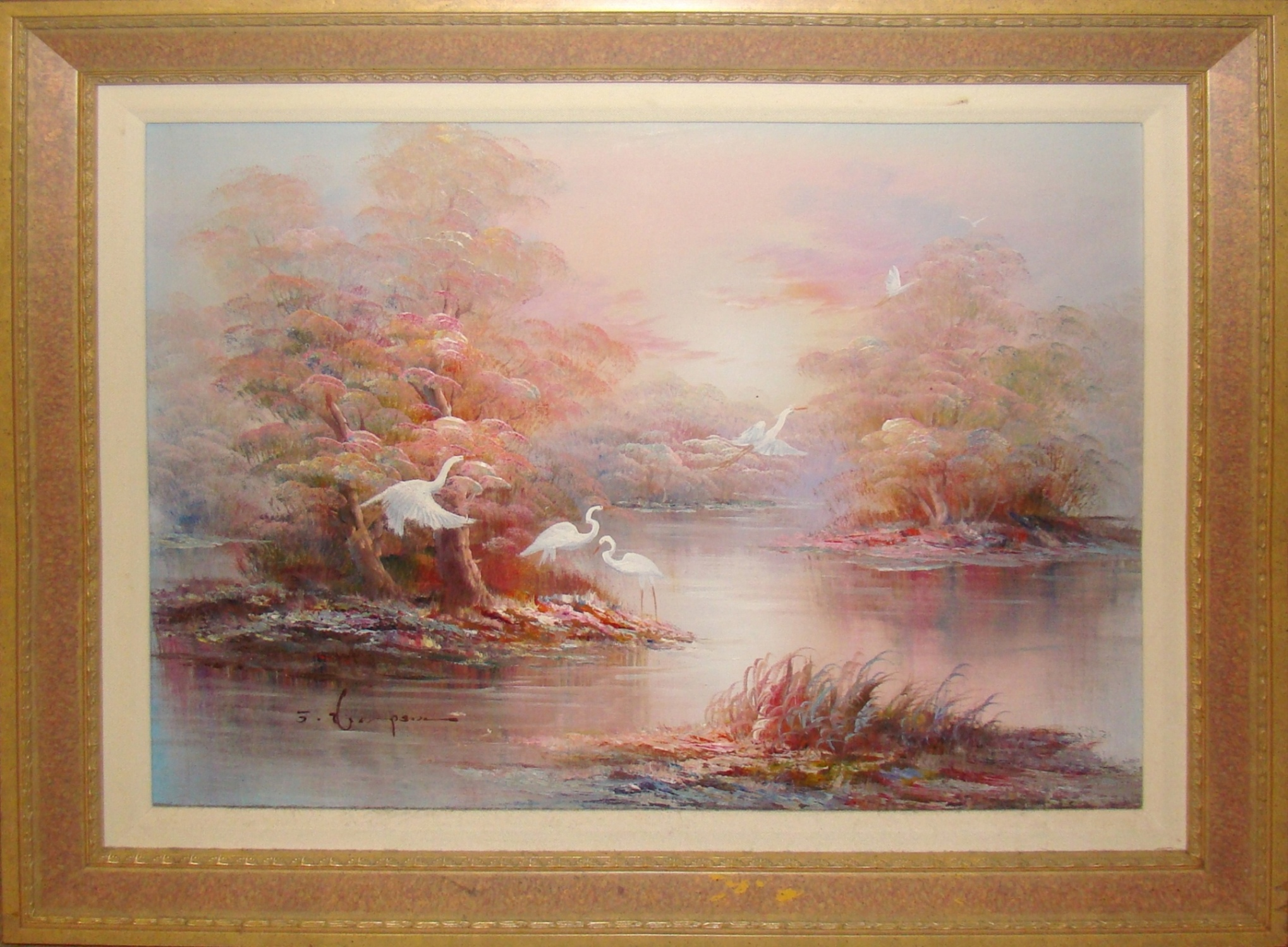 Mid Century Modern Oil Painting Of The Florida Everglades