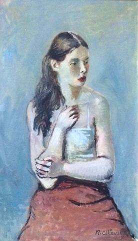 Nicolai Cikovsky Russian American Portrait C1940 Modernism