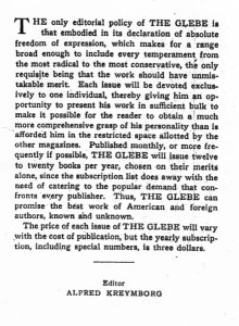 Opposite the title page for the Des Imagistes issue, Alfred Kreymborg laid forth his editorial policy. 1:5 (1914).