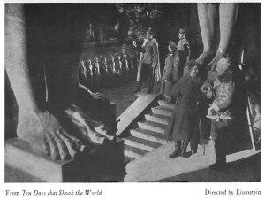 "Cinema still to accompany Jere Abbott's ""Notes on Movies: Eisenstein's New Work,"" regarding Ten Days That Shook the World. The Hound and Horn. 2:2 (1929): 162."