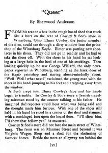 "Sherwood Anderson, ""Queer."" 1:2 (Dec. 1916): 97."