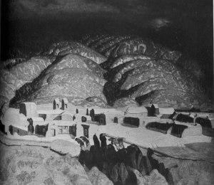Ernest L. Blumenschein, Sangre de Cristo Mountains. The Southwest Review. 13:4 (July 1928): insert.