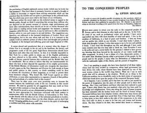 """Upton Sinclair, """"To the Conquered Peoples."""" 1:3 (March 1941): 12-13."""