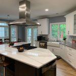 Stylish white kitchen cabinets