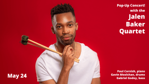 photo of Jalen Baker with vibraphone mallets in his hands