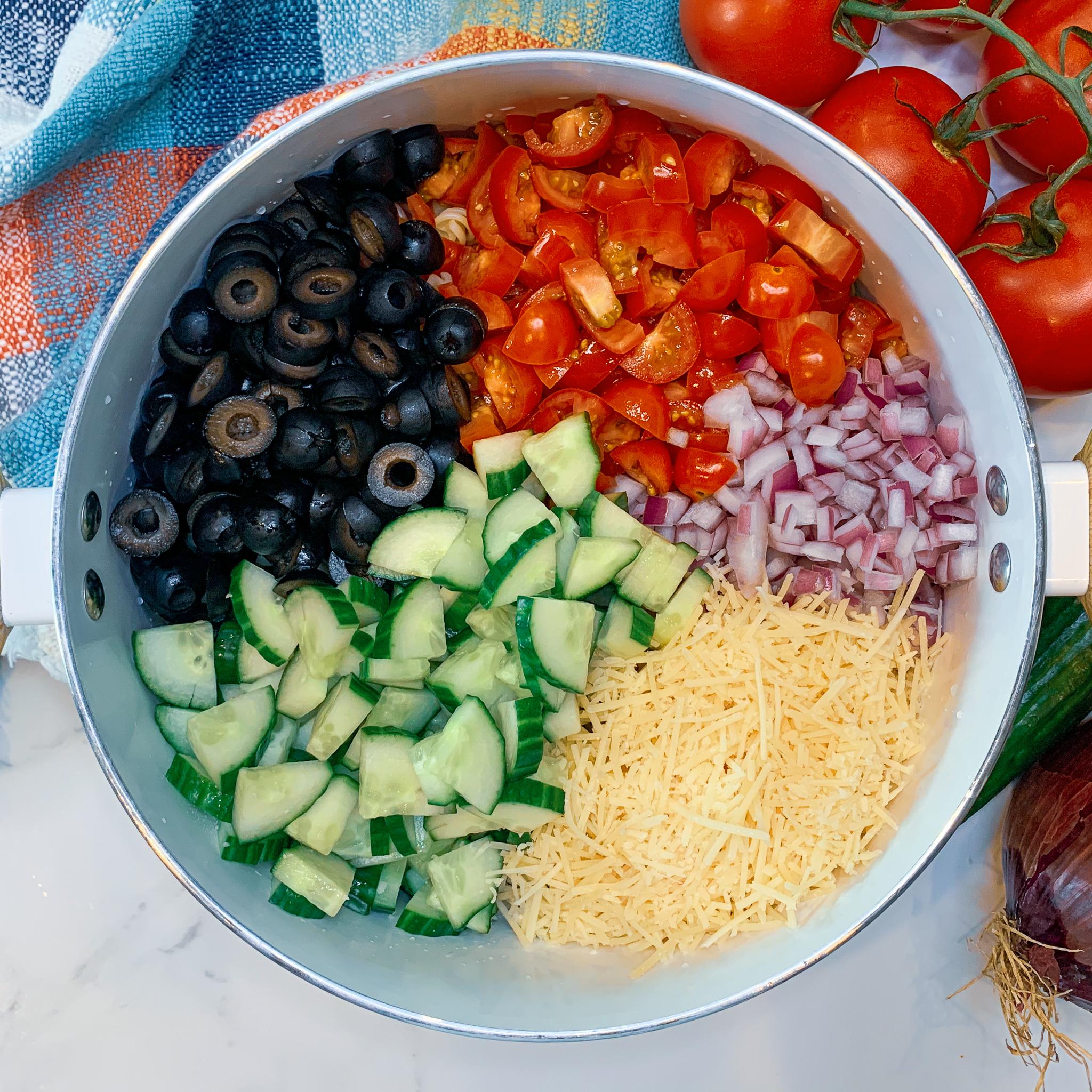 chopped veggies and cheese