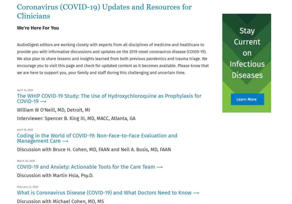 Screenshot of Audio Digest Coronavirus Resource Page