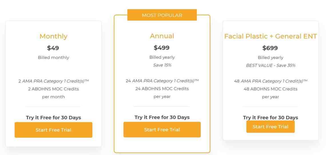 Facial Plastics CME Pricing Plans