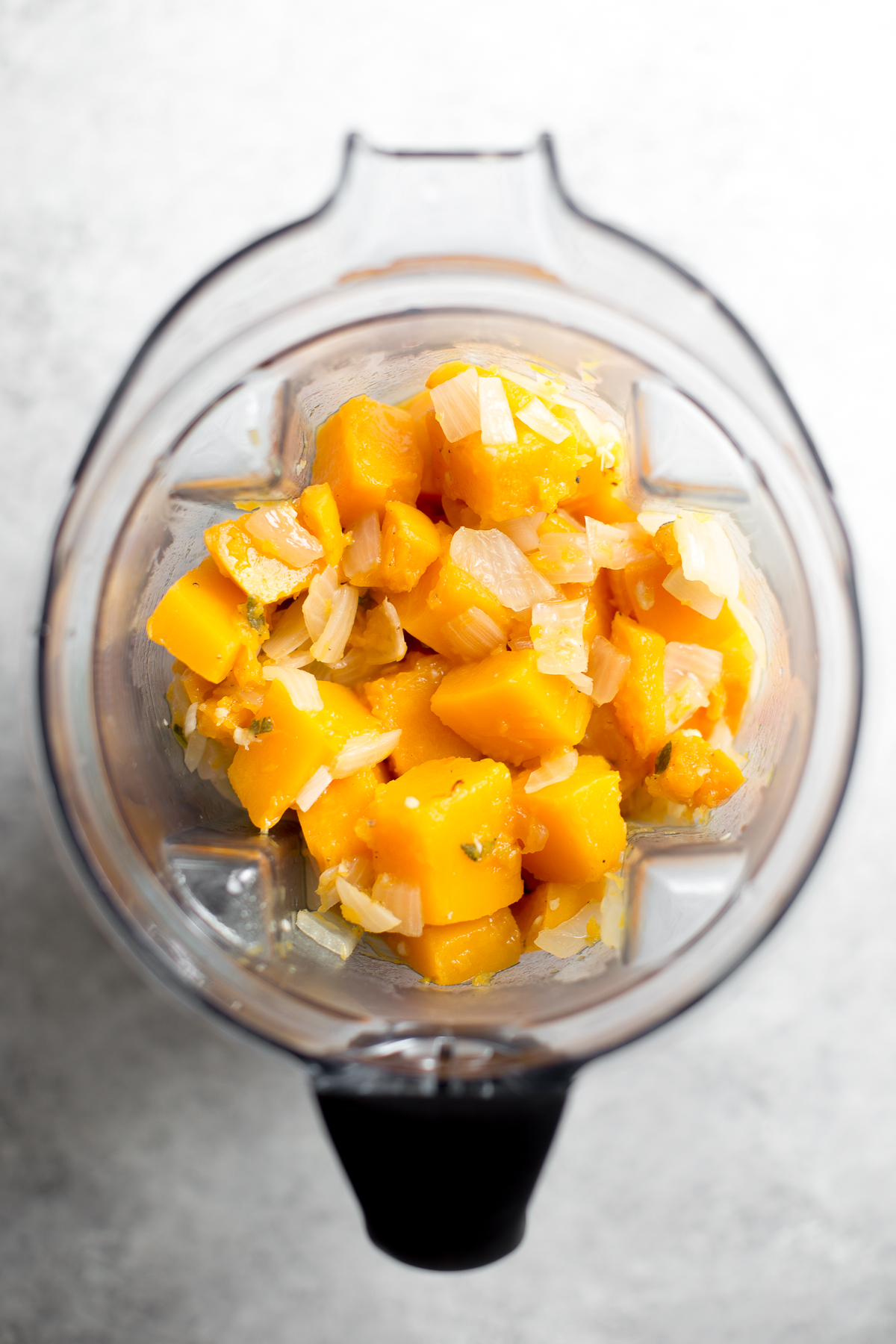 ingredients for butternut squash sauce in a blender