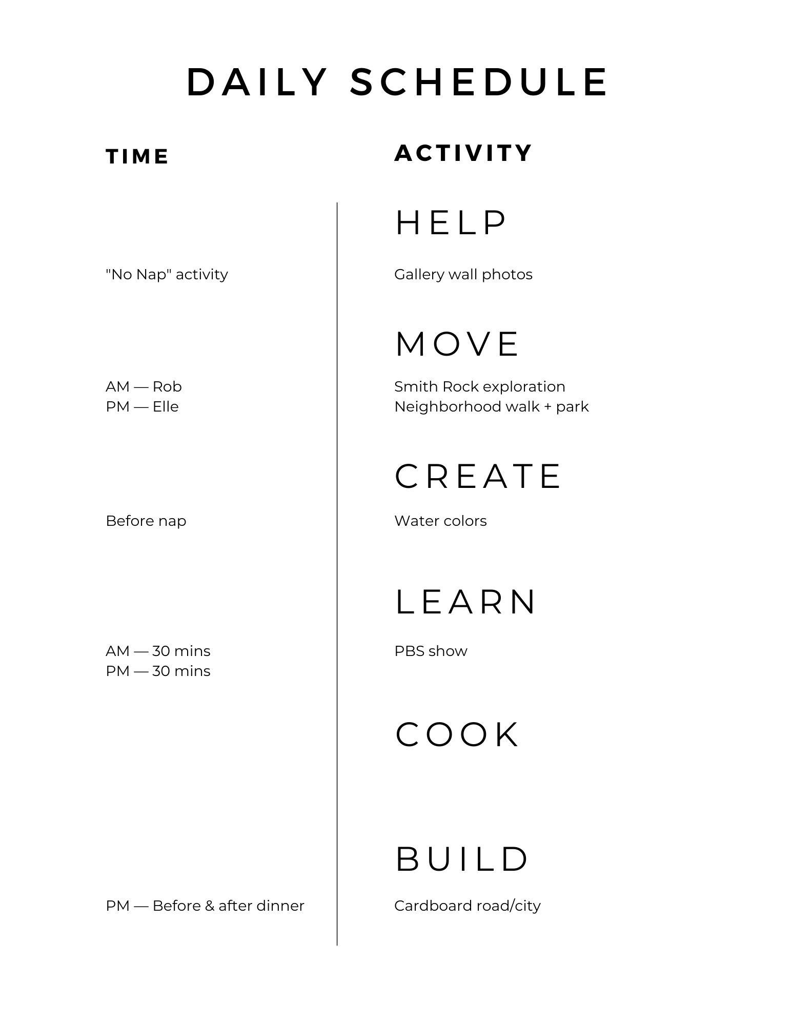 sample kids daily schedule worksheet template printable