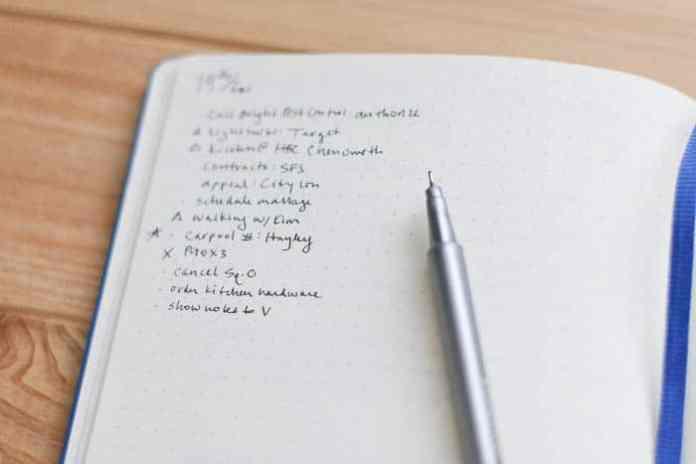 bullet journal daily list