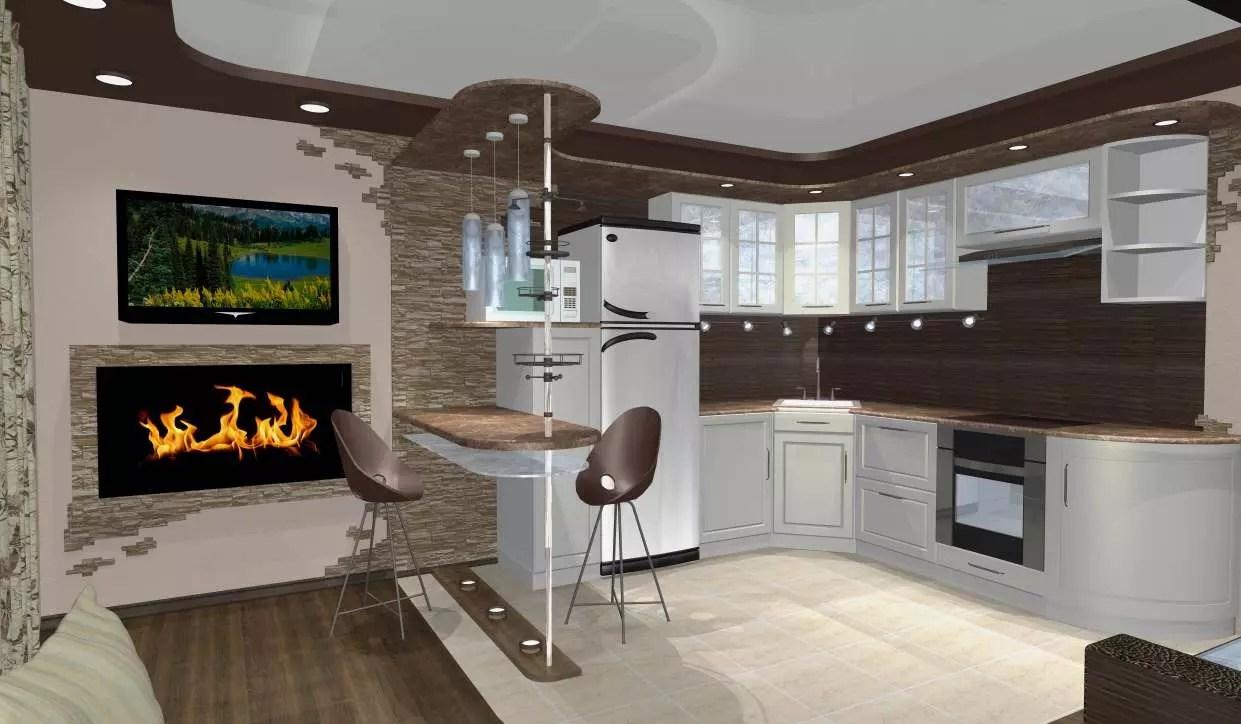 кухня студия 30 м кв дизайн фото в собственном доме 3