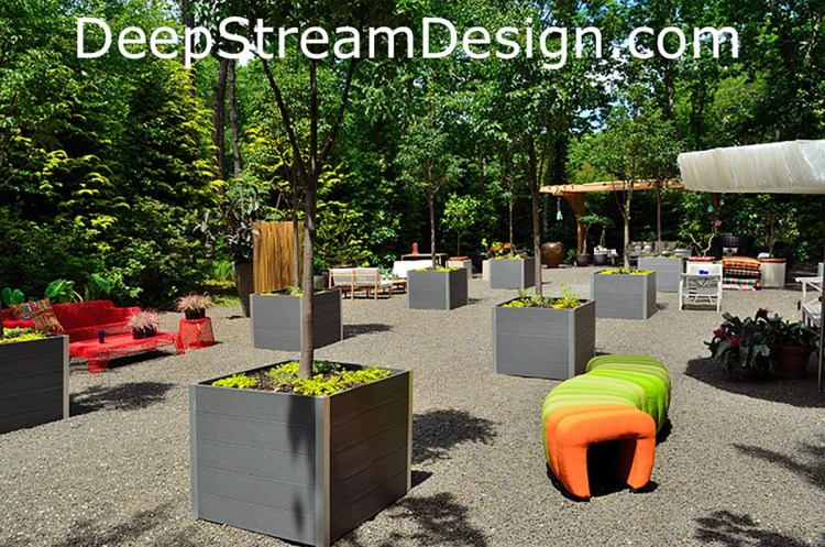 DeepStream Design recycled plastic lumber wood planters for trees at Long House Reserve Garden