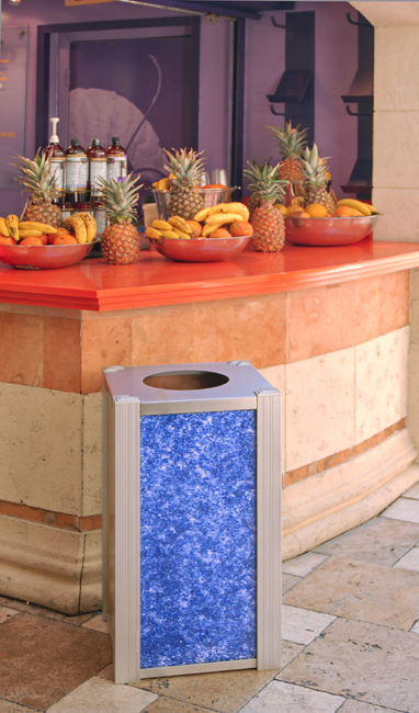 DeepStream Trash Bin 3Form Recycled Glass panels