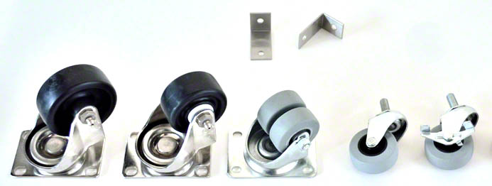 An assortment of accessory casters to choose from, stainless steel exterior casters or bright metal casters for indoors