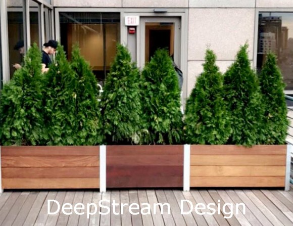 Adaptive design allows modification of modular wood planters to adapt from  planned dimension to the actual as built measurements