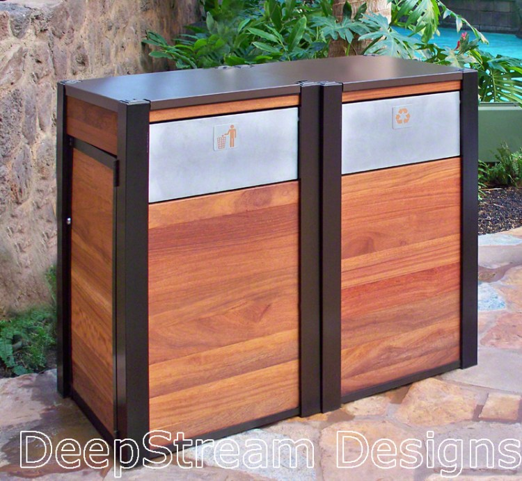 Example of a large wooden outdoor Modern Recycling Receptacle and matching Trash Bin by DeepStream Design at a Disney resort
