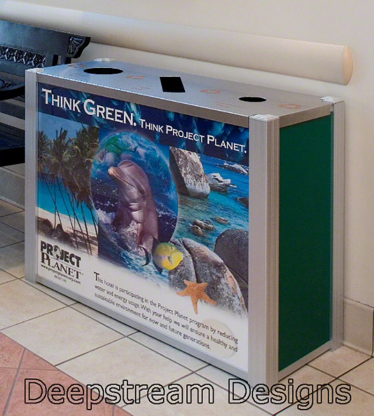 Example of a DeepStream Modern Combination Trash Bin and dual stream Recycling Receptacle with graphic panels