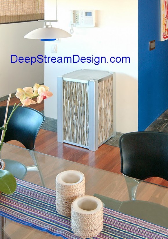 DeepStream's modern recycling receptacle with 3form Tiger Thatch panels shown in a modern residence