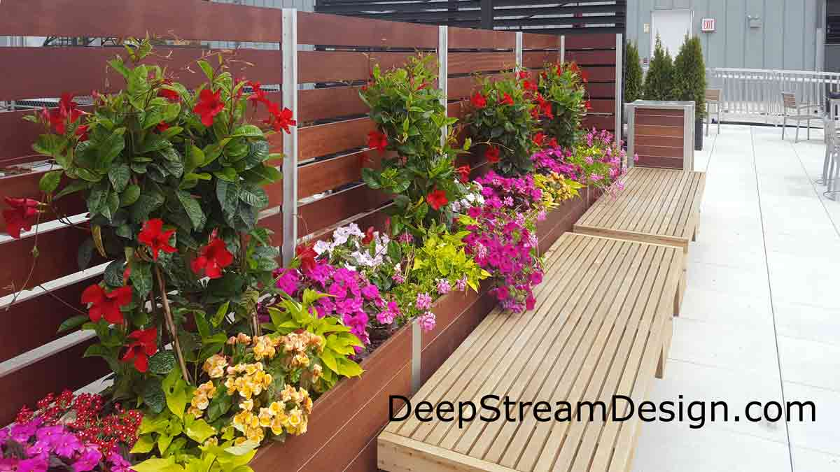 Commercial Planter Anchored Privacy Screen Wall