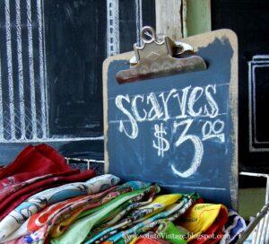 store signage scarves chalkboard