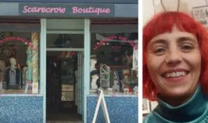 Scarecrow Botique shop front and owner