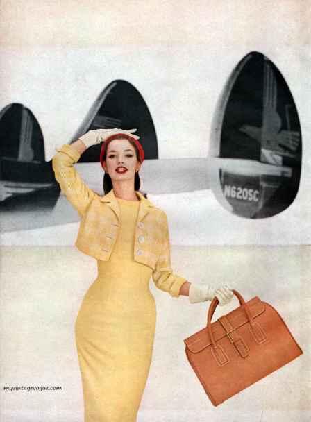 Harper's Bazaar February 1956, Photo by Francesco Scavullo - model Dolores Hawkins; Image courtesy of MyVintageVogue.com