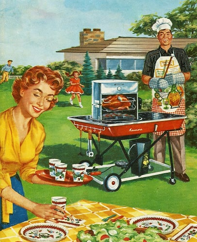 """Let's Cook Outdoors"" Sears Kenmore barbecue brochure, 1950s; Image courtesy of Salty Cotton on Flickr.com"