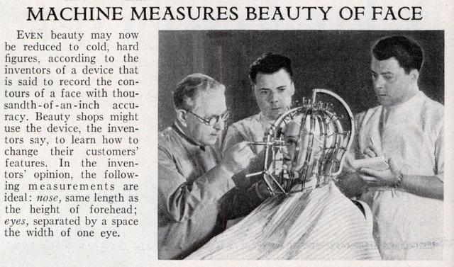 Machine Measures Beauty of Face (Popular Science, Feb, 1933); Image courtesy of ModernMechanix.com