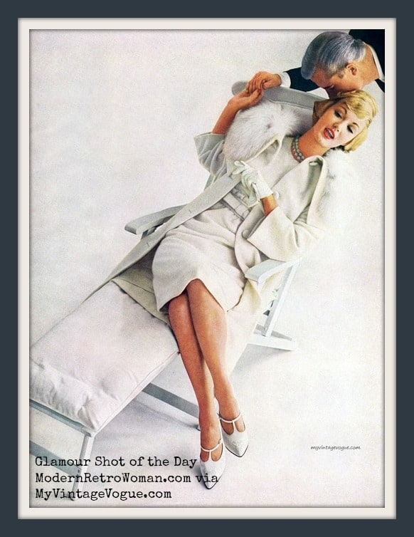 Evelyn Tripp reclining in a coat by Originala, 1959. Source image courtesy of MyVintageVogue on Tumblr.