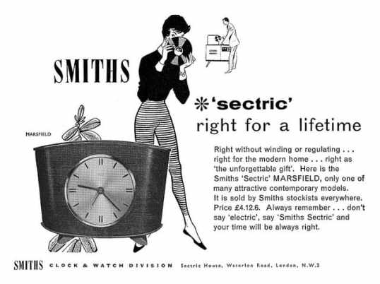 1958 Smiths Clocks ad; Image courtesy of TotallyMystified on Flickr.com