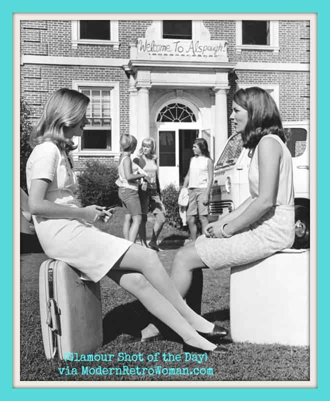 Two Duke students await moving into Alspaugh Hall during freshman week circa 1960s; Source image courtesy of Unabashedly Prep.