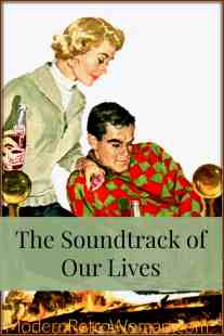 Man and woman relaxing by fire listening to music and playing chess for The Soundtrack of Our Lives post on ModernRetroWoman.com Pinterest