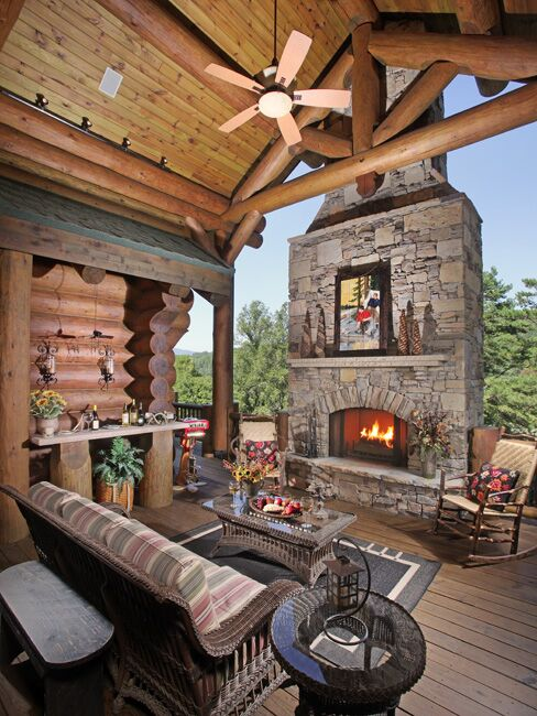 authentic stone chimney and cover porch