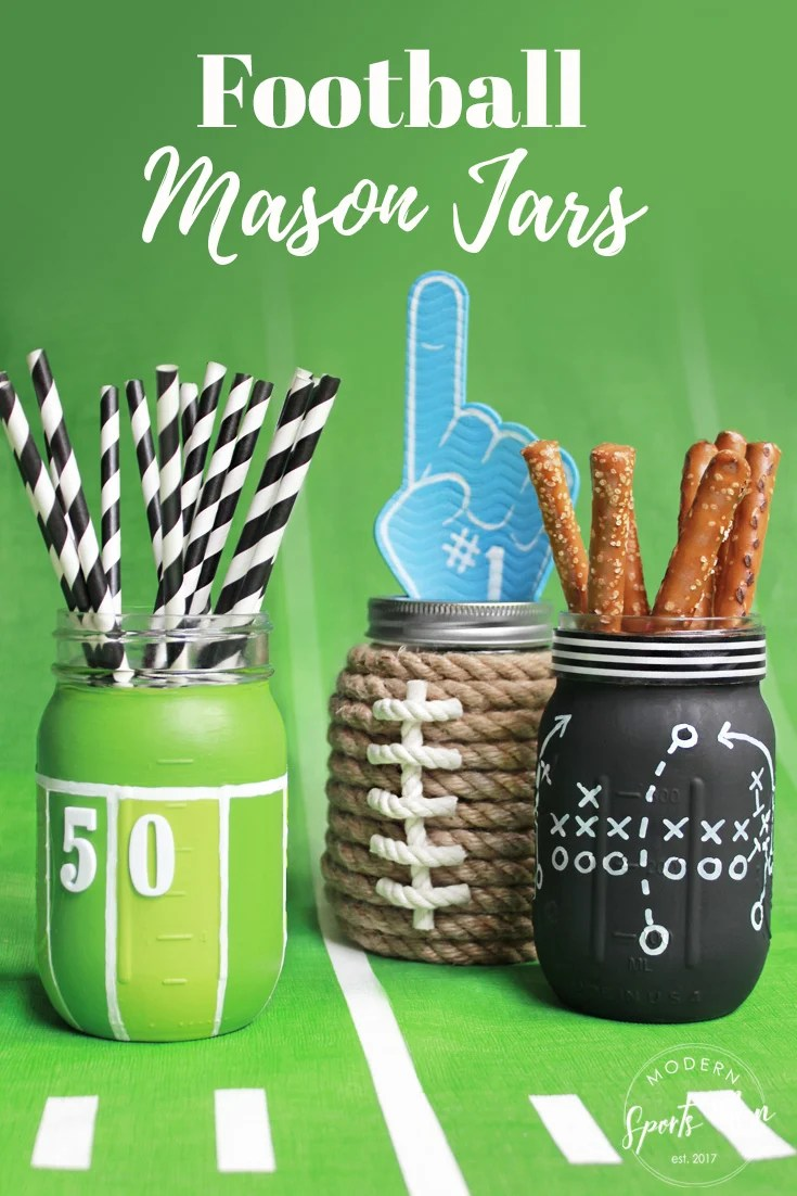 """These DIY Football Mason Jars make great gifts! They're super cute centerpieces or table decor for your football season get togethers, and the kids will get a kick out of them too!""""width="""