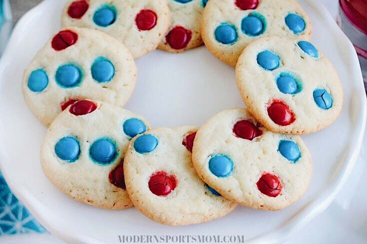 Team Spirit Cookies - purchased sugar cookie dough gets team spirit from colorful M&MS. This is just one of our Quick & Easy Team Party Treats!