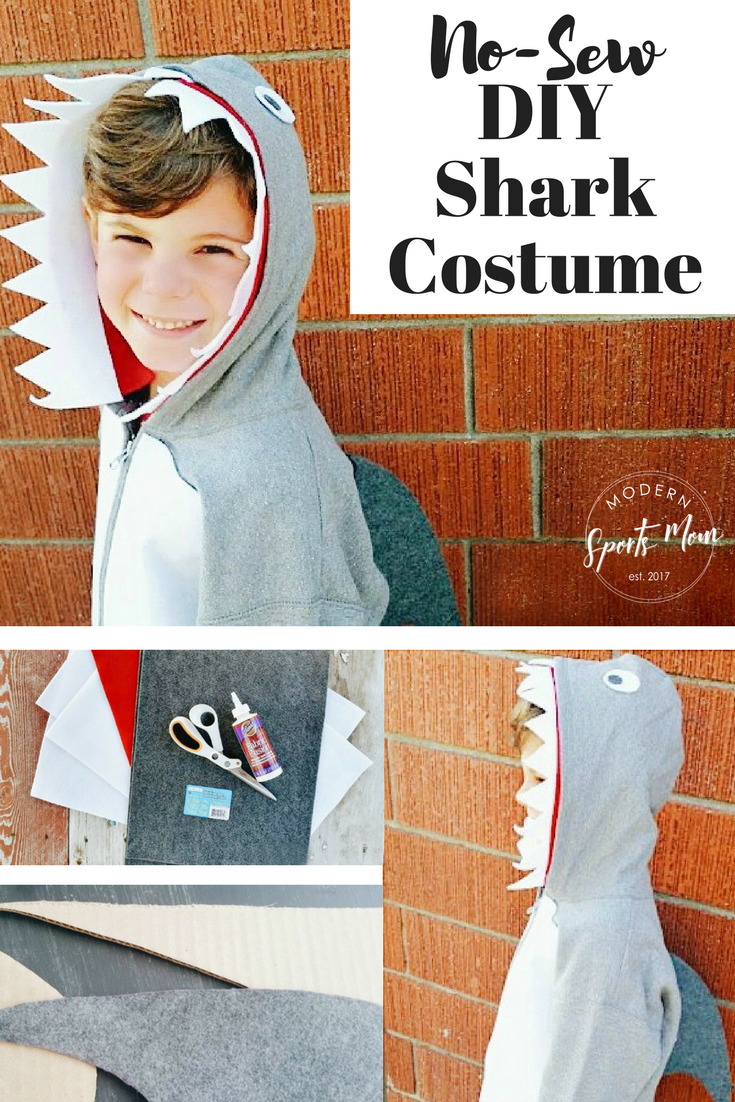 Halloween is made so easy with this no-sew DIY Shark Costume. A great last minute idea for boys or girls!