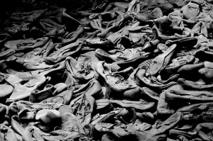 One of the infamous piles of shoes, representing the scale of human loss focalised through the normal and every-day.