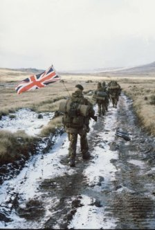 The famous 'yomp' across the Falklands.