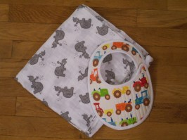 Double gauze swaddling blanket and truck bib