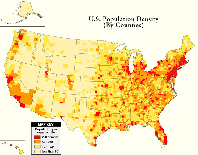 U S Population Density Map Archives The Survival Place Blog